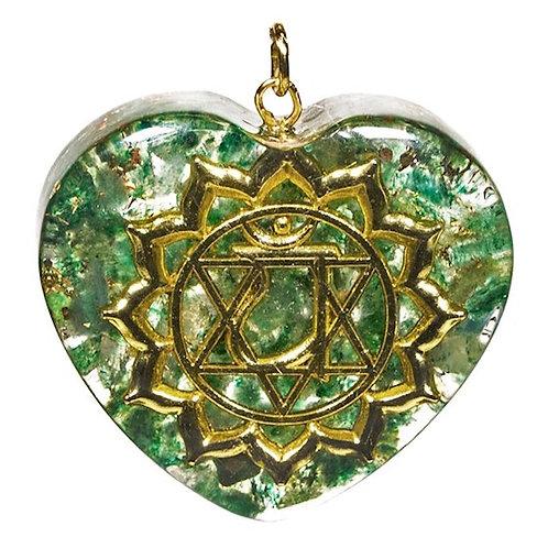 DL78161 Pendentif Orgonite 4è chakra forme de coeur