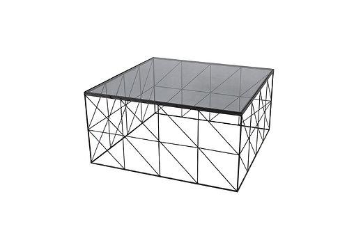 LCMM01192 - TABLE BASSE QUADRILLAGE VERRE FUME