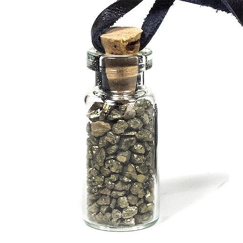 DL13273 Fiole cadeau en verre sur cordon de cire avec pyrite