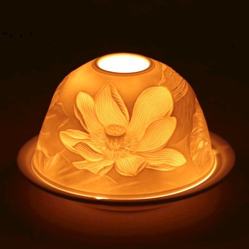 Eclairage d'ambiance en porcelaine fleur de lotus