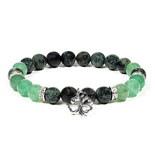 DL12604 Bracelet Jaspe kambaba / Aventurine avec trèfle