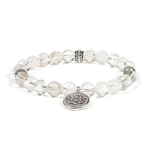 DL12220 Mala / bracelet cristal de roche élastique lotus