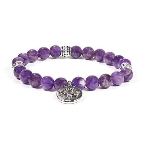 DL12223 Mala / bracelet améthyste élastique lotus