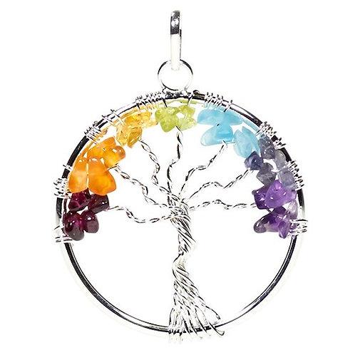 DL78283 Pendentif arbre des Chakra laiton couleur argent