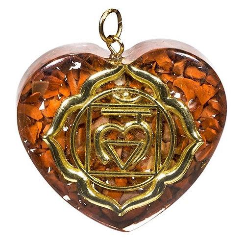 DL78160 Pendentif orgonite chakra 1 forme de coeur