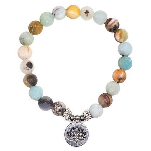 DL12146 Mala/bracelet en Amazonite élastique avec Lotus