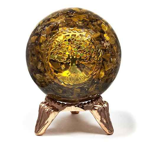 DL78261 Sphère d'orgonite oeil du tigre et arbre de vie