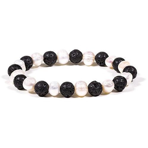 DL13103 Bracelet Lave/perle élastique