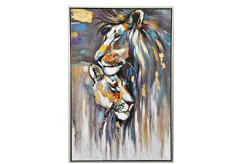 LCTA5484 - COUPLE LION ET LIONNE 90*60 ENCADREMENT ALUMINIUM