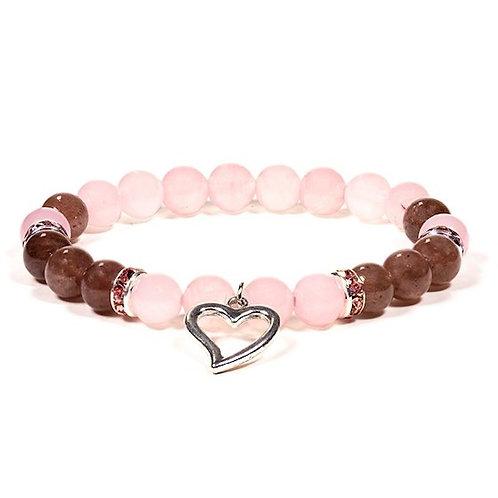 DL12603 Bracelet Quartz rose / Quartz fraise avec coeur