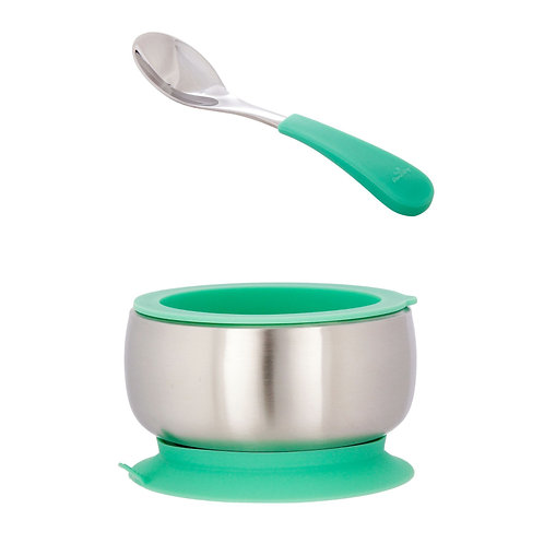 Avanchy Stainless Steel Suction Baby Bowl + Air Tight Lid + Spoon