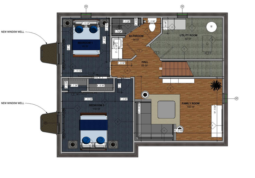Basement New Furniture Option Plan