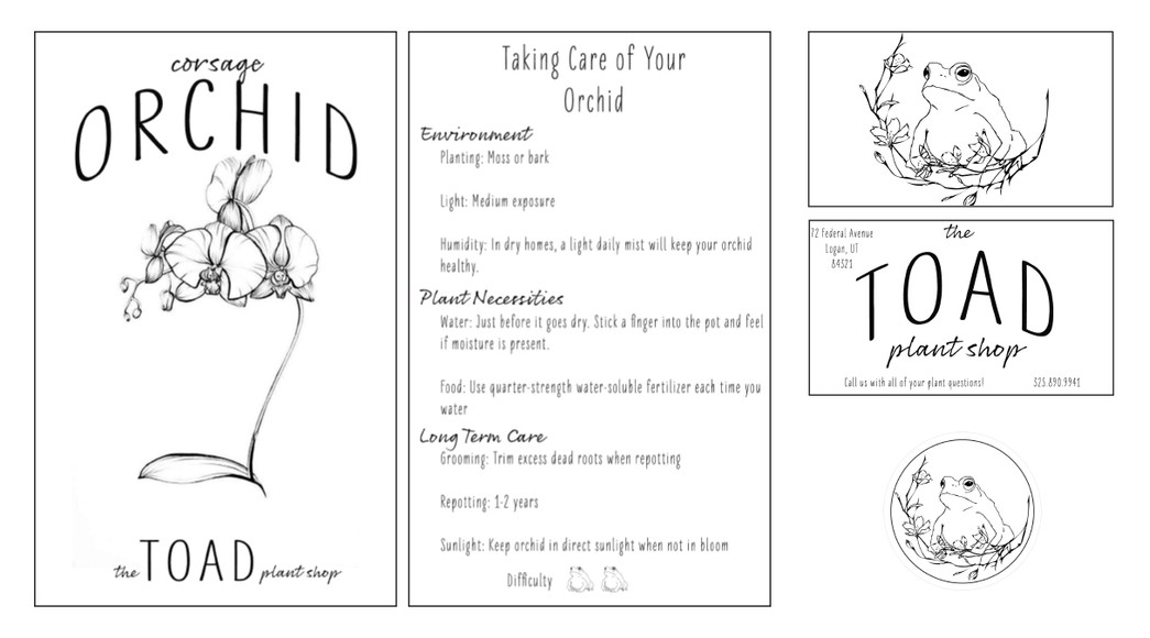 Plant Menu, Business Card, and Sticker