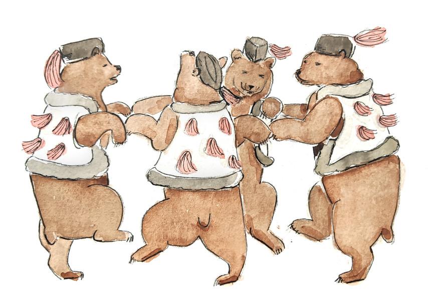 Watercolor Study - Dancing Bears