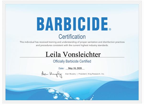 barbicide certifide