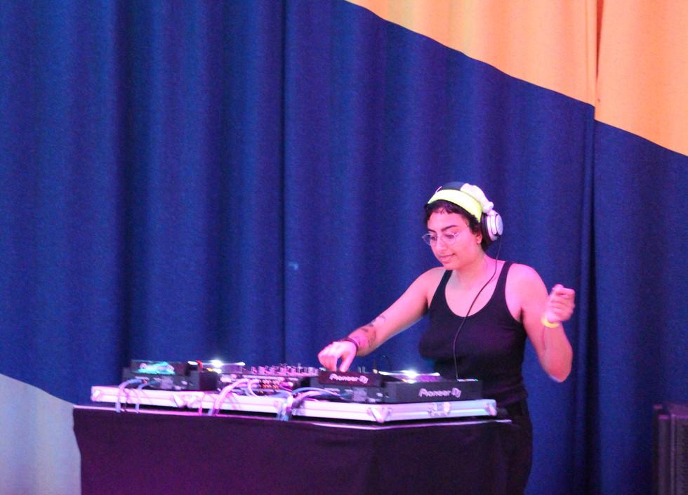 Aisha Murza, a south Asian DJ, mixes tracks