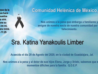 Nuestro sentido pésame, Sra. Katina Yanakoulis Limber
