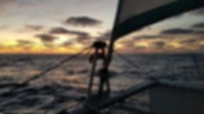 Grand large, Club de croisière, faire de la voile, apprendre la voile, croisière à la voile, croisière en catamaran, Transatlantique, transat, traversée de l'Atlantique, trampoline, horizon