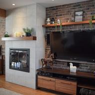Mobilier sur mesure pour foyer électrique et revêtement muraux