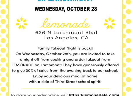 Family Takeout Night is back!! On Wednesday, October 28th