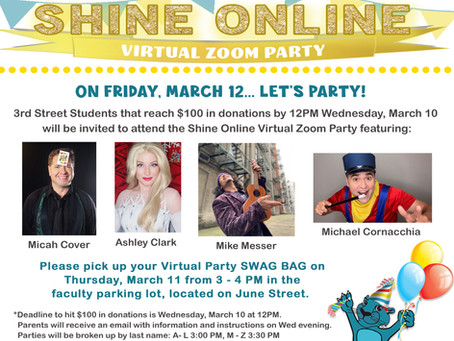 Shine Online! Upcoming Virtual Party and Current Standings