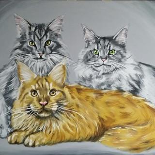 Acrylgemälde Maincoonkatzen