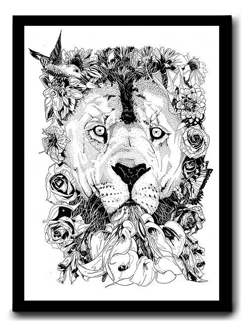 A3 Print Floral Lion Signed