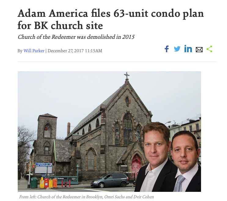 Adam America files 63-unit condo plan for BK church site