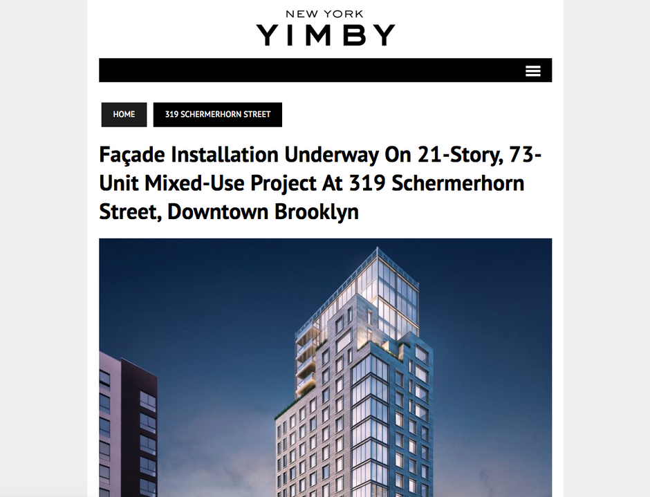 Façade Installation Underway On 21-Story, 73-Unit Mixed-Use Project At 319 Schermerhorn Street, Down