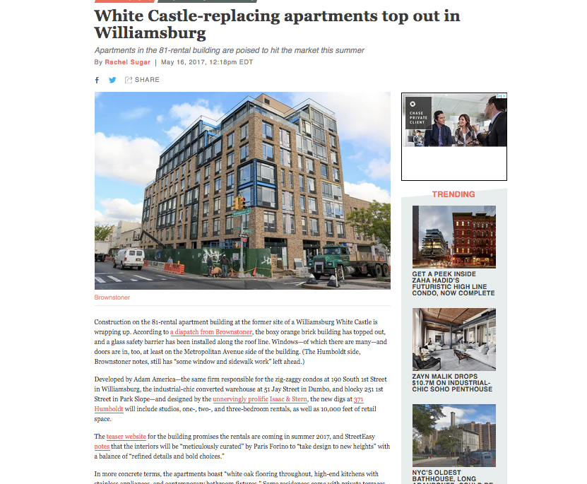 White Castle-replacing apartments top out in Williamsburg