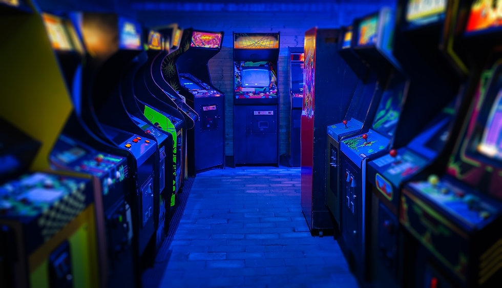Old Vintage Arcade Video Games in an emp