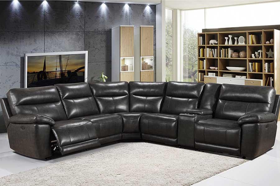 Grey Leather Lexington Sectional