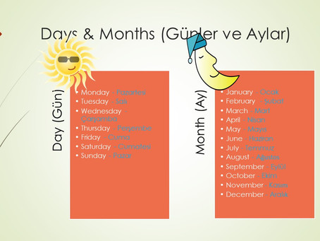 Days and Months in Turkish