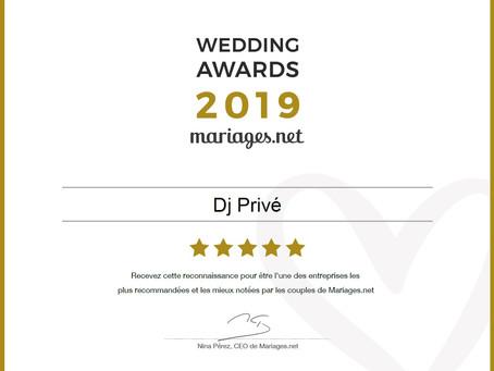 Dj Privé reçoit le Wedding Awards 2019 dans la catégorie Musique