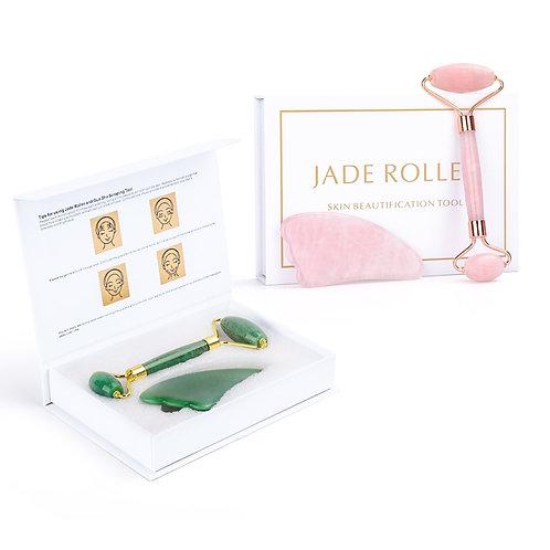 Portable Face Lift Crystal Roller Set (Jade or Rose Quartz)