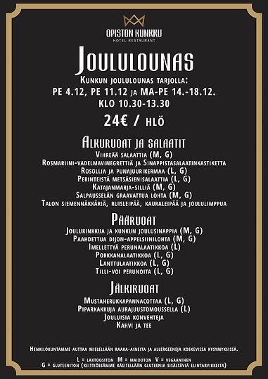 Joululounas menu Opiston Kunkku Lahti