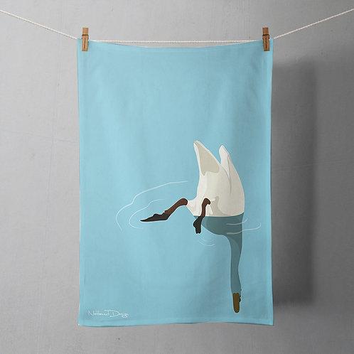 Tea towel - diving swan