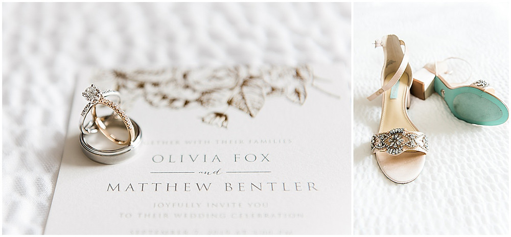 Fall Wedding at the Blessed Sacrament Church and Hall at Fauntleroy in West Seattle, Wedding Details, ring shot, wedding shoes, Betsy Johnson Wedding Shoes, something blue, wedding invitations, Seattle fall wedding, Seattle wedding photographer