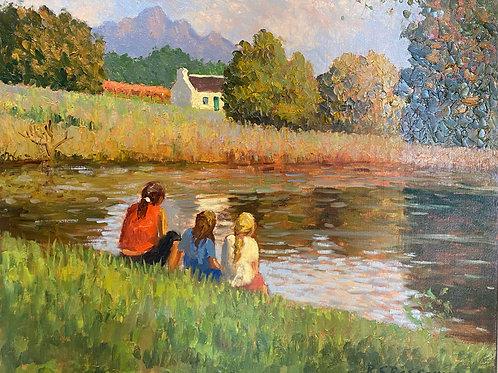 Three girls at the farm dam