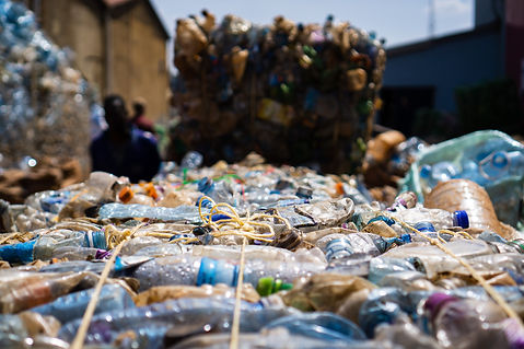 Plastic waste bailed at Eco Brixs HQ for