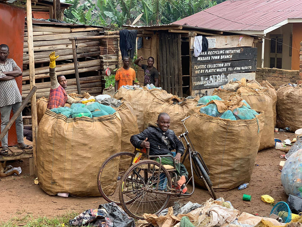 Eco Brixs Community Recycling Centre managed by Mukalazi who is disabled