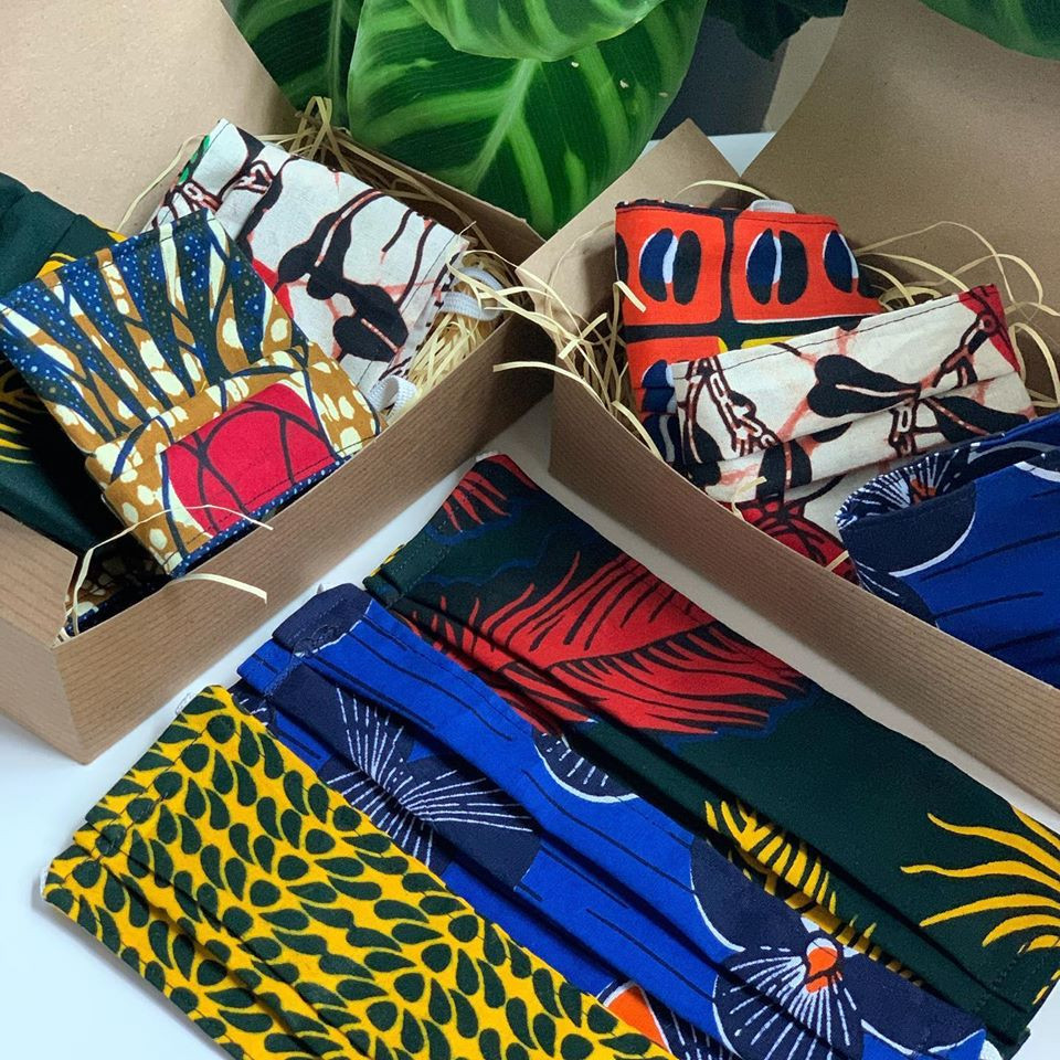 Packaged Eco Brixs face masks made from African fabric to support frontline workers in Uganda