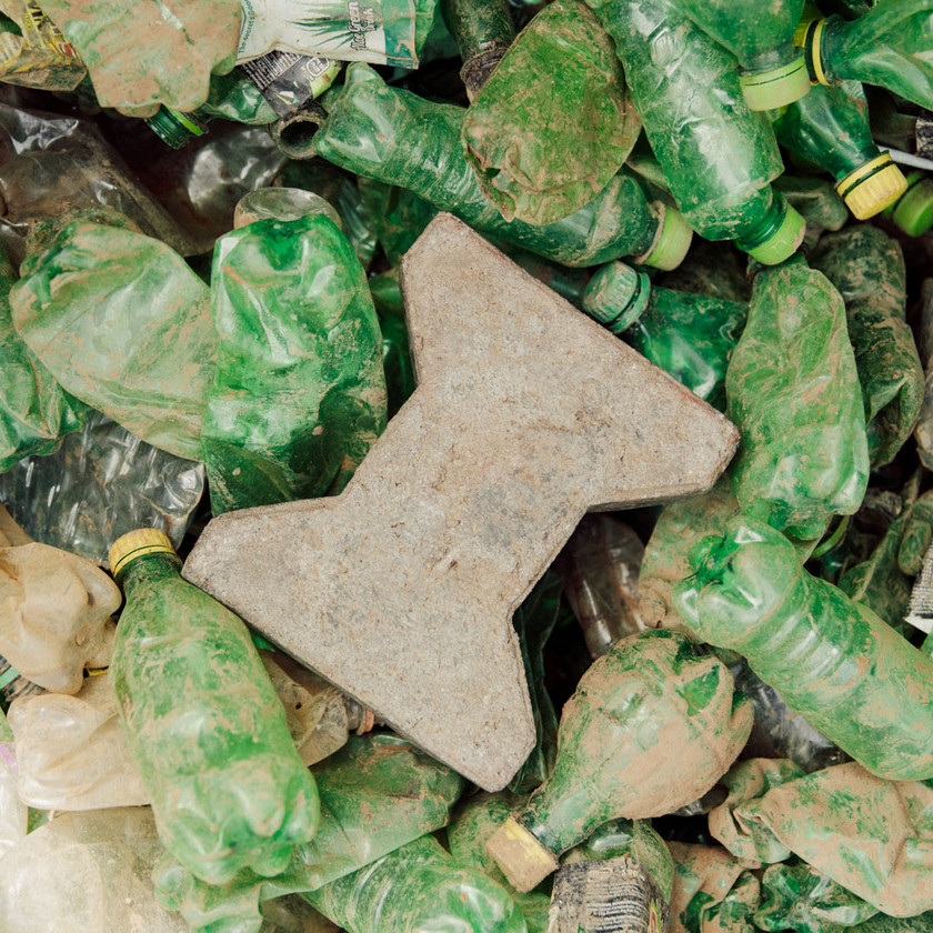 Eco Brix's Brick Eco-Product made from recycled plastic waste in Uganda