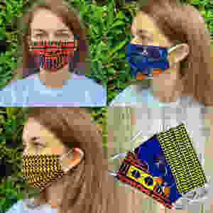 Gee (Georgina) Elliott modelling the masks she is making from Ugandan fabric to protect people from coronavirus