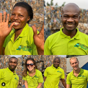 The Eco Brixs team in Masaka in their new green uniforms