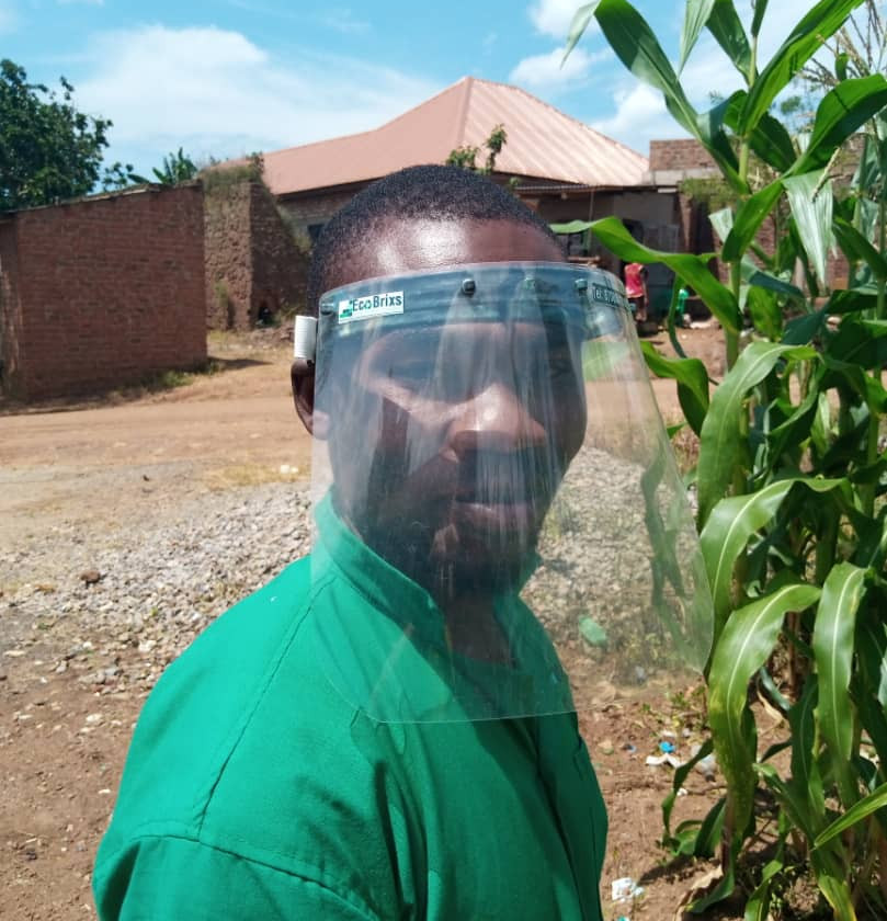 Emma, who works in operations at Eco Brixs HQ. He demonstrates our new Eco-Product, Plastic Face Shields, to protect people from Coronavirus