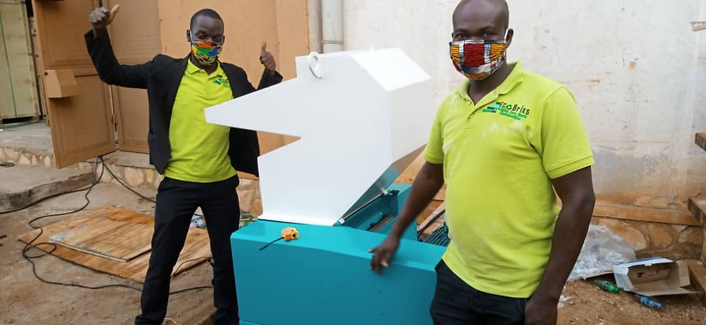 Eco Brixs team with a shredder which can break plastic waste down so it can be recycled into new things