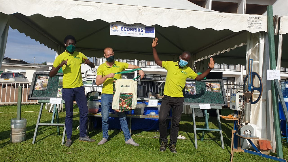 Eco Brixs team at their Eco-Products stand at the Flip Flopi event at Lake Victoria