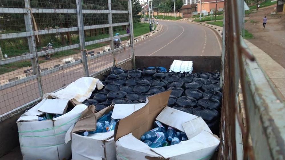 500 food and soap parcels on the back of the Eco Brixs truck to to be distributed to help the community survive during COVID-19