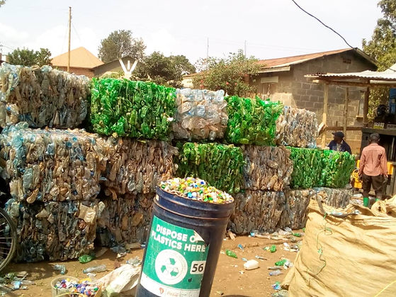 Bails of plastic waste ready to be recycled
